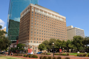 The Hotel Texas in Fort Worth, Texas from a Southern vantage. NRHP Ref 79003011.